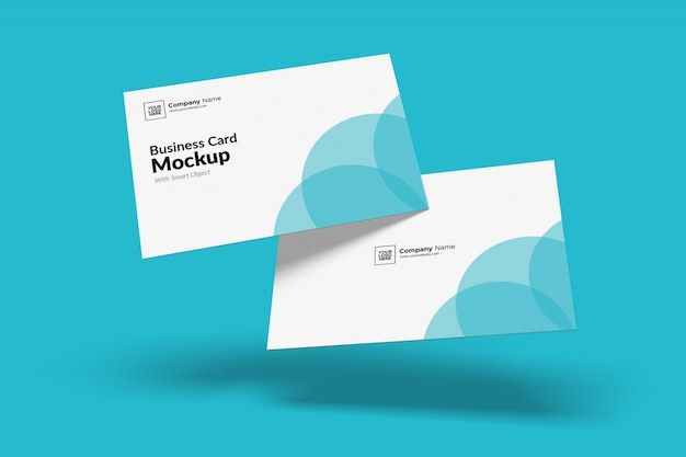 Floated business card mockup