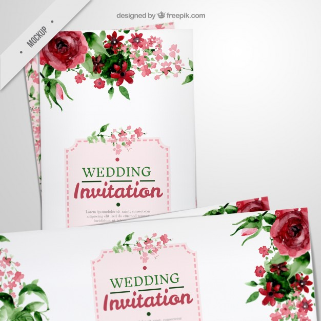 floral long flyers for wedding in watercolor effect