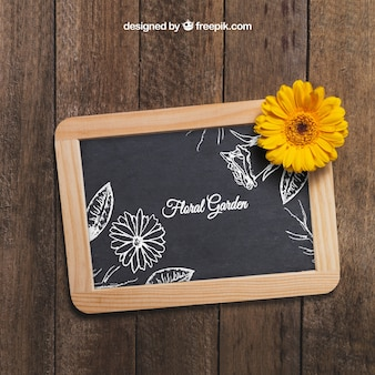 Flower concept with slate