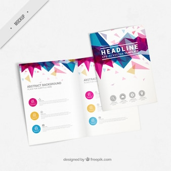 Flyer mockup with abstract shapes