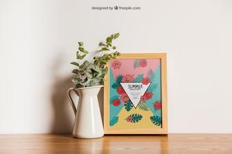 Frame mockup with flower decoration