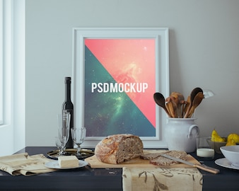 Frame on table with food mock up