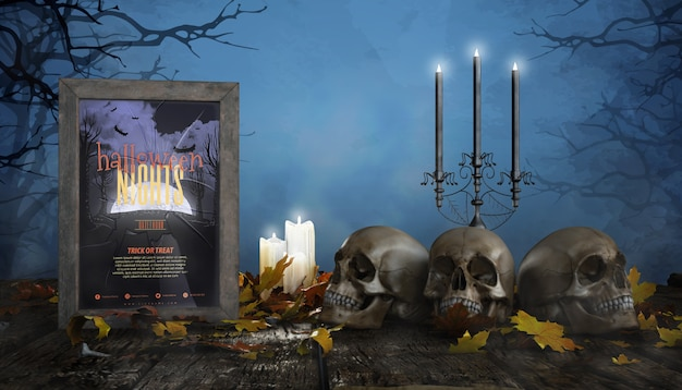 Frames horror poster with candles and skulls