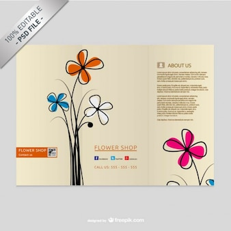 Free trifold floral brochure mock-up
