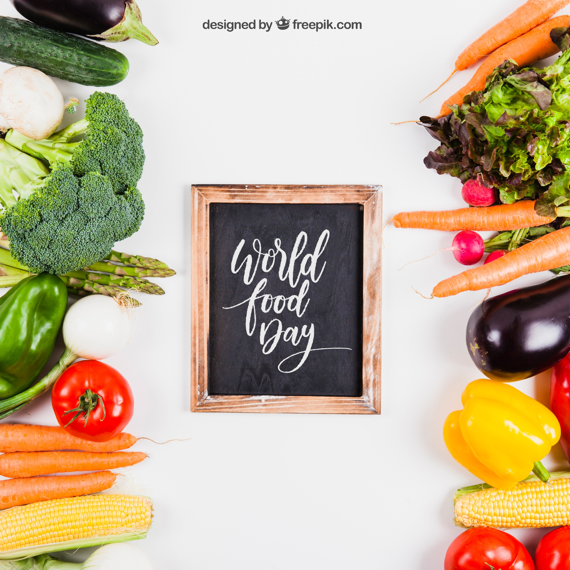 Fresh healthy food mockup with slate in middle