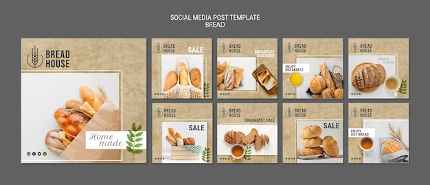 Freshly baked bread posts templates