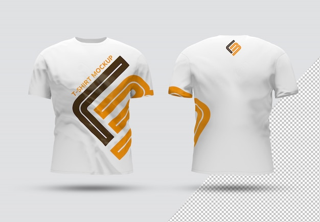 Front and back isolated t-shirt with shadow mockup