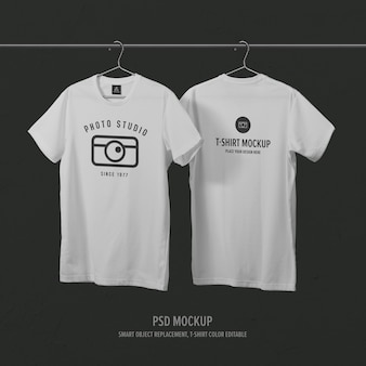 Front side & back side t-shirt mockup template with clothes hanger