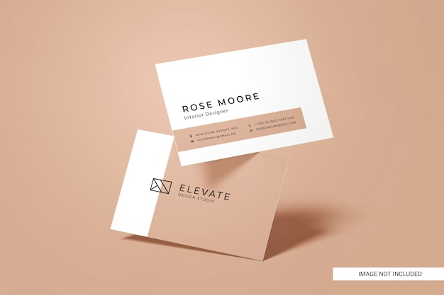 Front view business card mockup