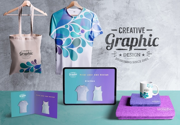 Front view of creative graphic designer desk