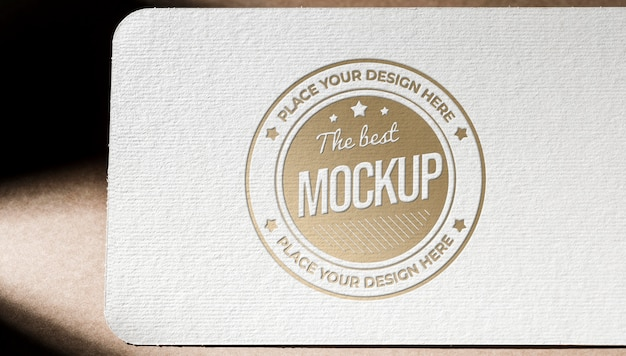 Front view of textured business card paper mock-up