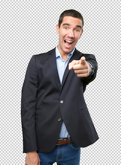Funny businessman pointing you