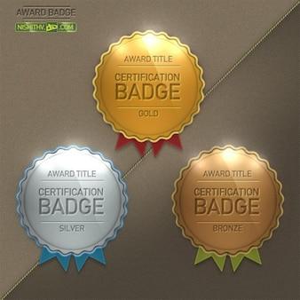 glossy round scalloped award badge set