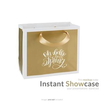 Golden gift bag mock up
