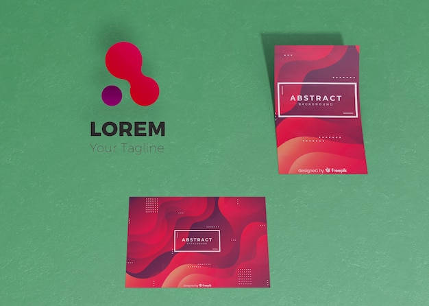 Gradient liquid effect of flyer and card brand company business mock-up paper