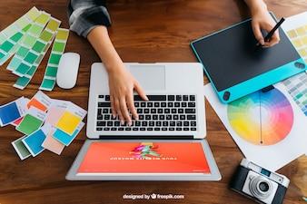 Graphic designer top view mockup