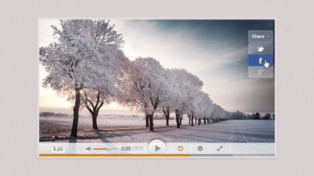 Gray video player with progress bar