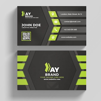 Green and black business card
