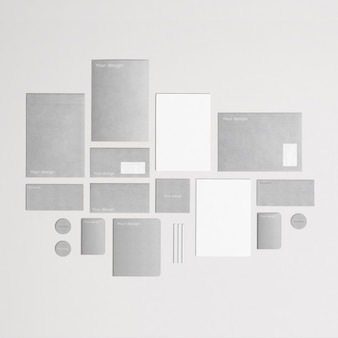 Grey and stylish corporative stationery in top view