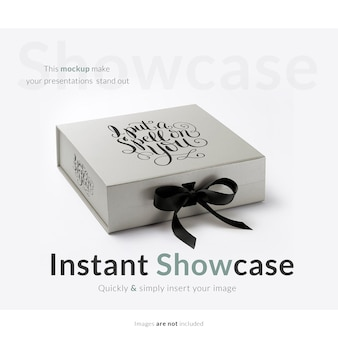 Grey gift box mock up
