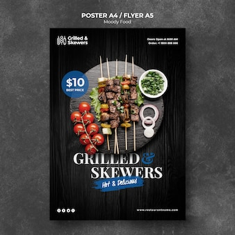 Grilled skewers with veggies restaurant poster template