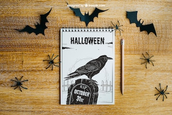 Halloween mockup with spiral notepad