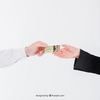 Handing over business card