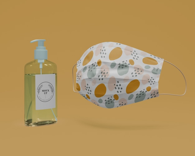 Handmade face mask and hand sanitizer with mock-up