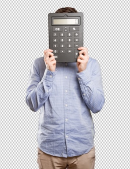 Happy young man holding a calculator