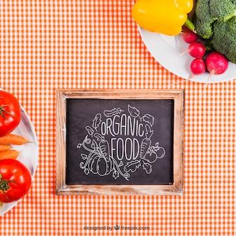 Healthy food on plates mockup