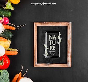 Healthy vegetables mockup with slate