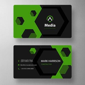Hexagon shape business card template