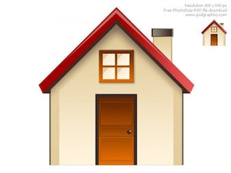 Home with red roof and beige wall