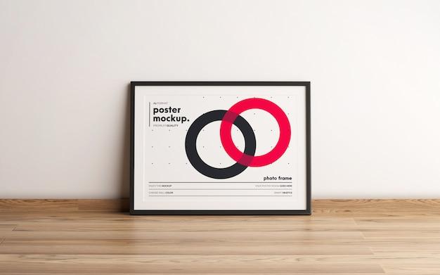 Horizontal framed poster template mockup
