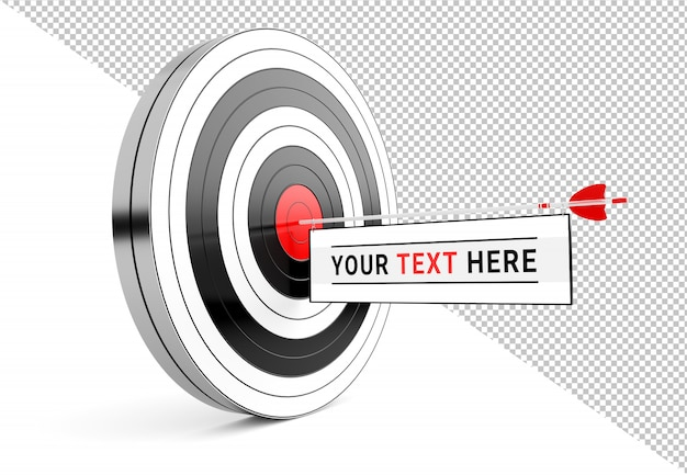 Isolated cut out target with arrow message template