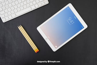 Keyboard, pencils and tablet