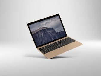白い背景のノートパソコンの視点は、モックアップ