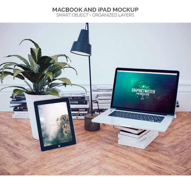 Macbook in an office mock up