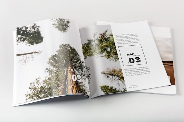 Magazine mockup with photos PSD file | Free Download