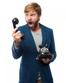Man shouting to a phone