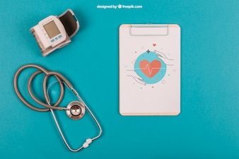 Medical mockup with clipboard and stethoscope