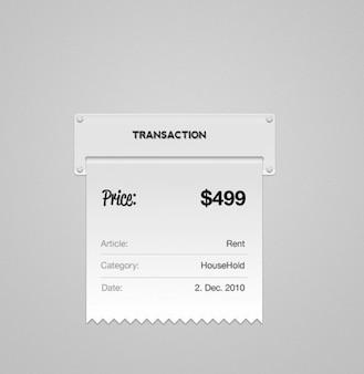 metal style transaction receipt psd