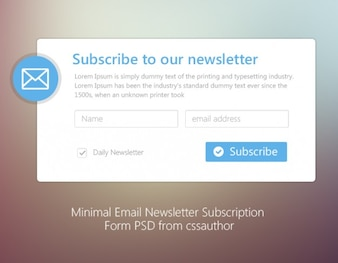 Minimal Email Newsletter Subscription Form PSD