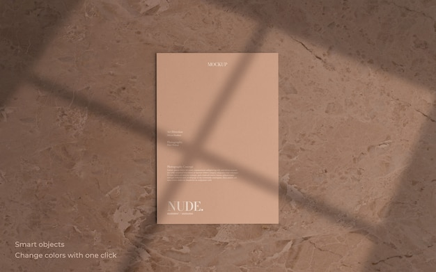 Minimal leaflet mockup with soft shadow