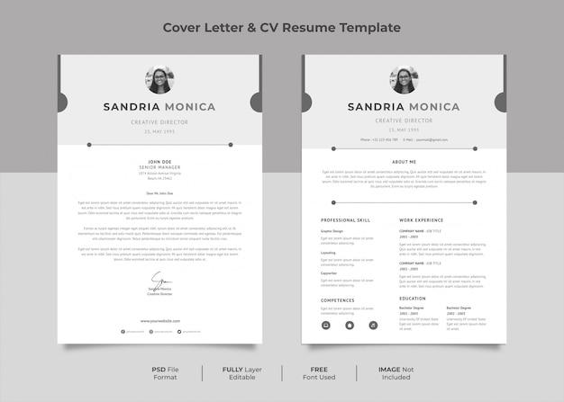Minimalist cv resume monocrome style
