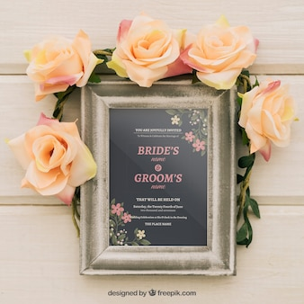 Mock up design with frame and floral ornaments