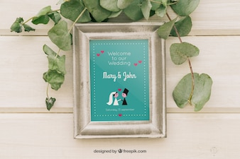 Mock up design with frame and leaves