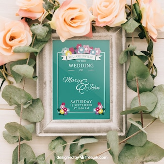 Mock up design with frame, flowers and leaves