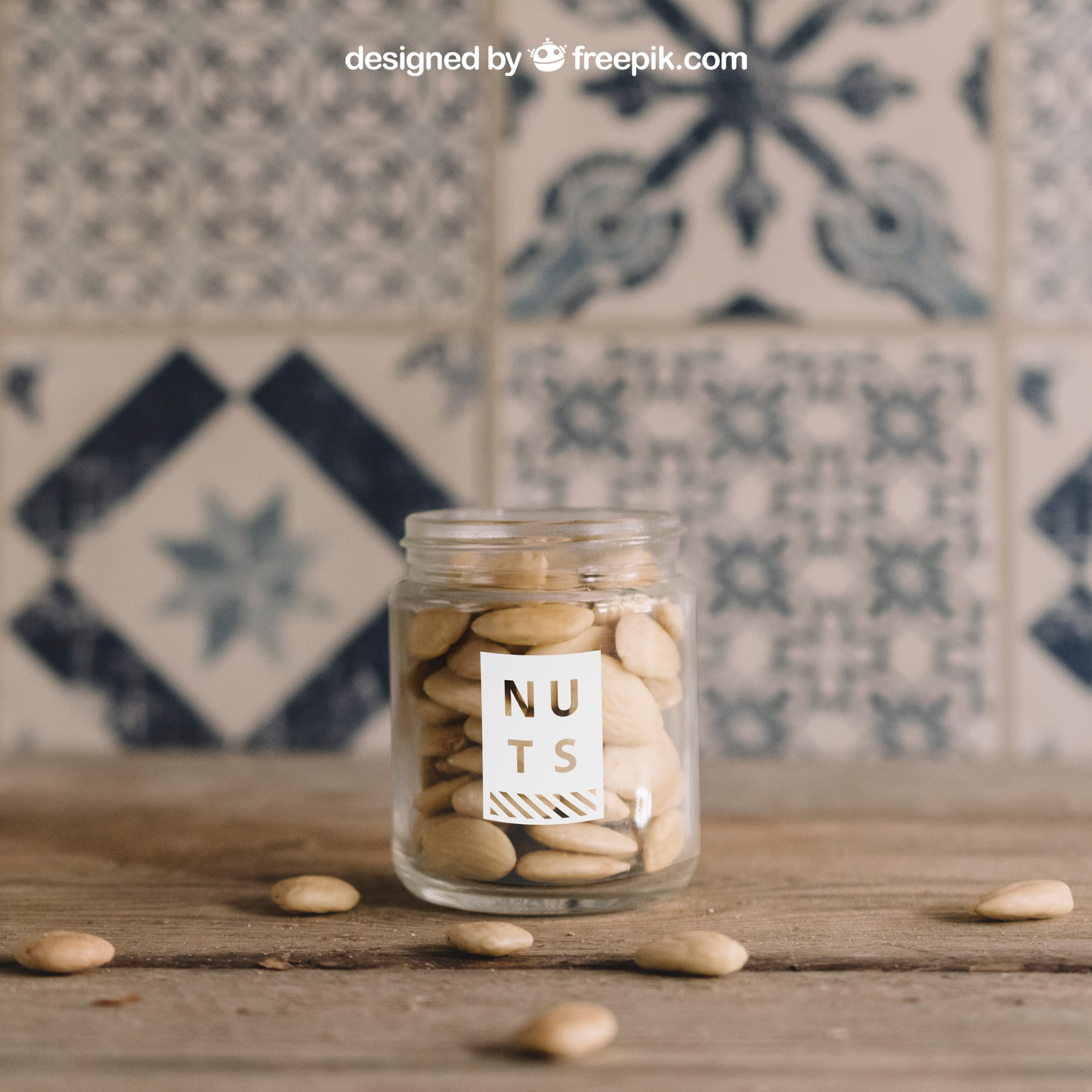 Mockup of nuts in glass