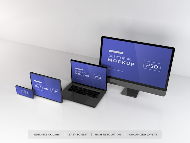 Mockup of various digital devices